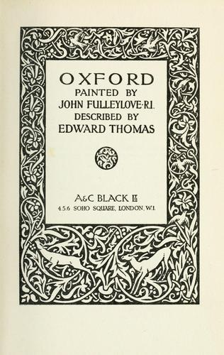 Oxford by Thomas, Edward