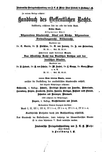 Handbuch des öffentlichen Rechts der Gegenwart in Monographien