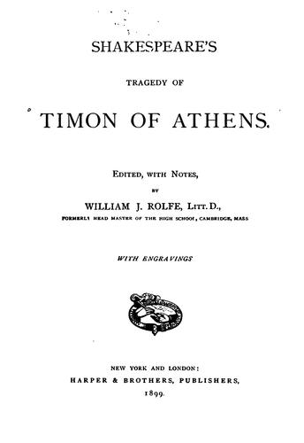 Shakespeare's Tragedy of Timon of Athens