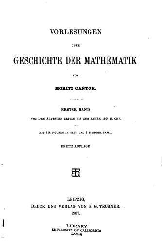 Vorlesungen üb̈er Geschichte der Mathematik