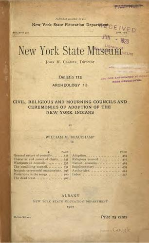 Civil, religious and mourning councils and ceremonies of adoption of the New York Indians