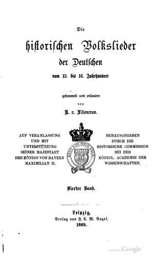 Download Die historischen Volkslieder der Deutschen vom 13. bis 16. Jahrhundert