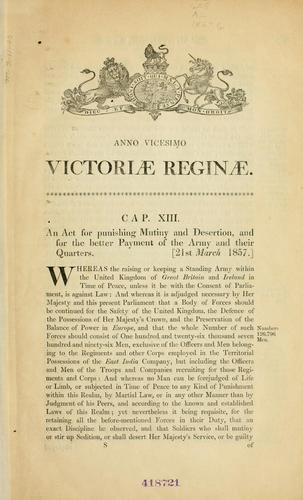 Download An act for punishing mutiny and desertion, and for the better payment of the army and their quarters.