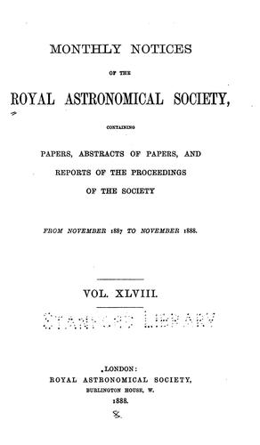 Monthly Notices of the Royal Astronomical Society by Royal Astronomical Society
