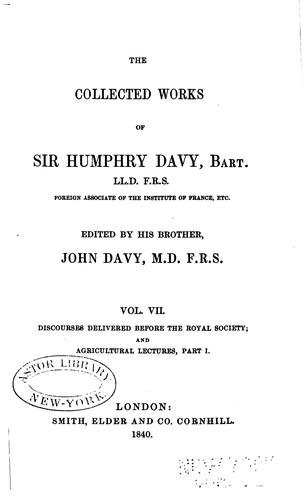 Download The collected works of Sir Humphry Davy.