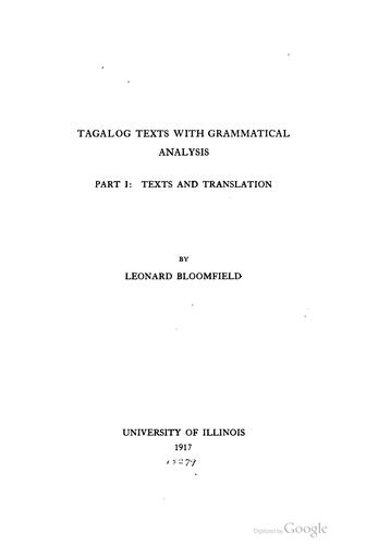 Download Tagalog texts with grammatical analysis