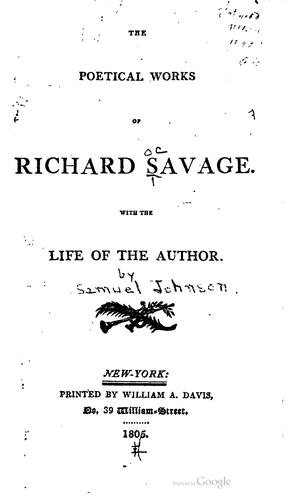 The poetical works of Richard Savage.