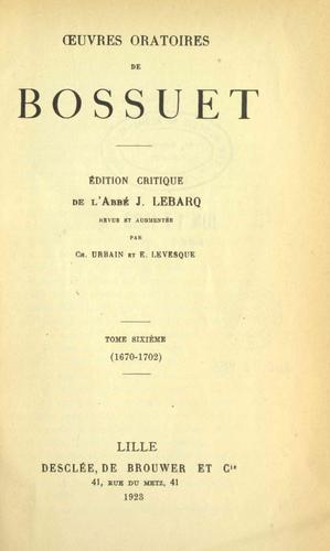 Œuvres oratoires de Bossuet.