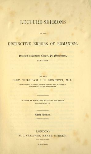 Download Lecture-sermons on the distinctive errors of Romanism