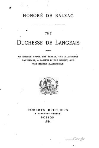 Download Duchesse de Langeais