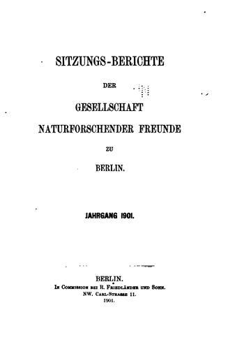 Sitzungsberichte der Gesellschaft naturforschender Freunde zu Berlin