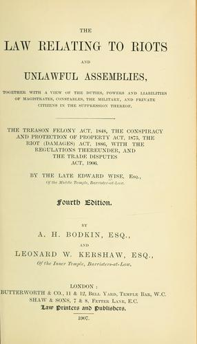 Download The law relating to riots and unlawful assemblies