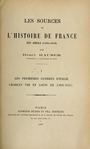 Les sources de l'histoire de France.