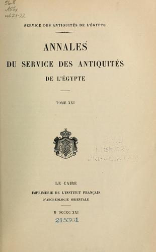 Annales du Service des antiquités de l'Egypte