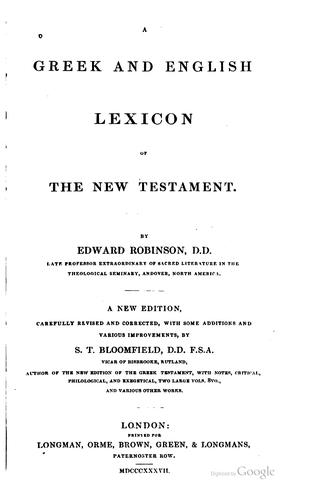 A Greek and English lexicon of the New Testament.