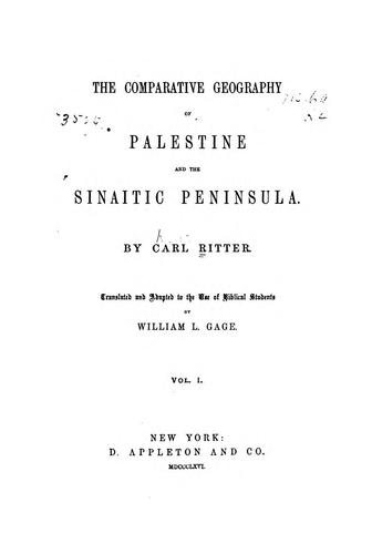 Download The comparative geography of Palestine and the Sinaitic Peninsula.