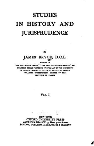Studies in history and jurisprudence.