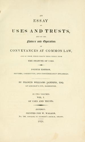 An essay on uses and trusts