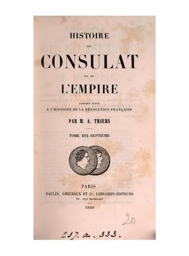 Histoire du Consulat et de l'Empire.