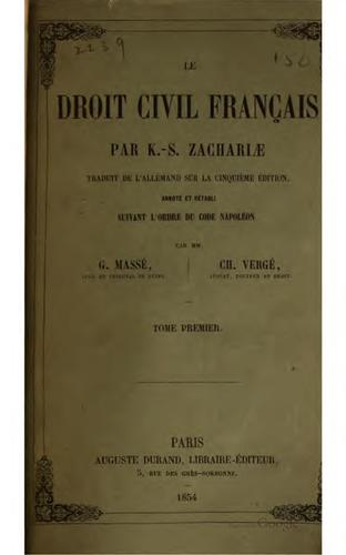 Le droit civil français par K.-S. Zachariæ by K. S. Zachariä