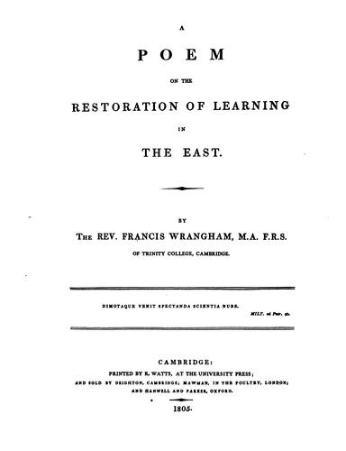 A poem on the restoration of learning in the East by Francis Wrangham