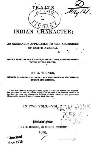 Traits of Indian character by Turner, George judge of the Western territory