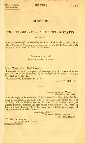 Message from the President of the United States, in compliance with a resolution of the Senate of the 13th October, 1837 by United States. Bureau of Indian affairs