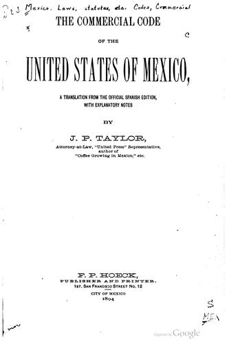 The commercial code of the United States of Mexico