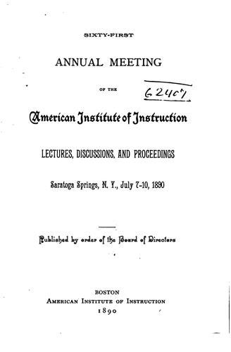 Annual Meeting of the American Institute of Instruction by American Institute of Instruction